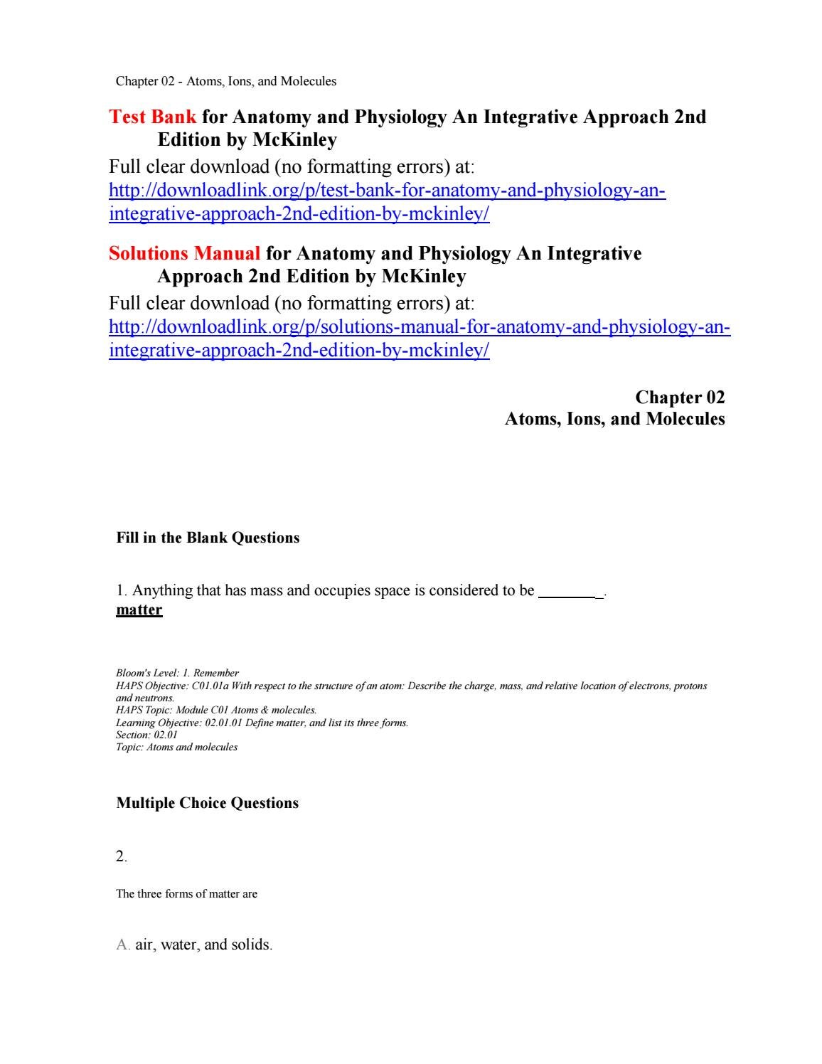 Test Bank for Anatomy and Physiology An Integrative Approach 2nd