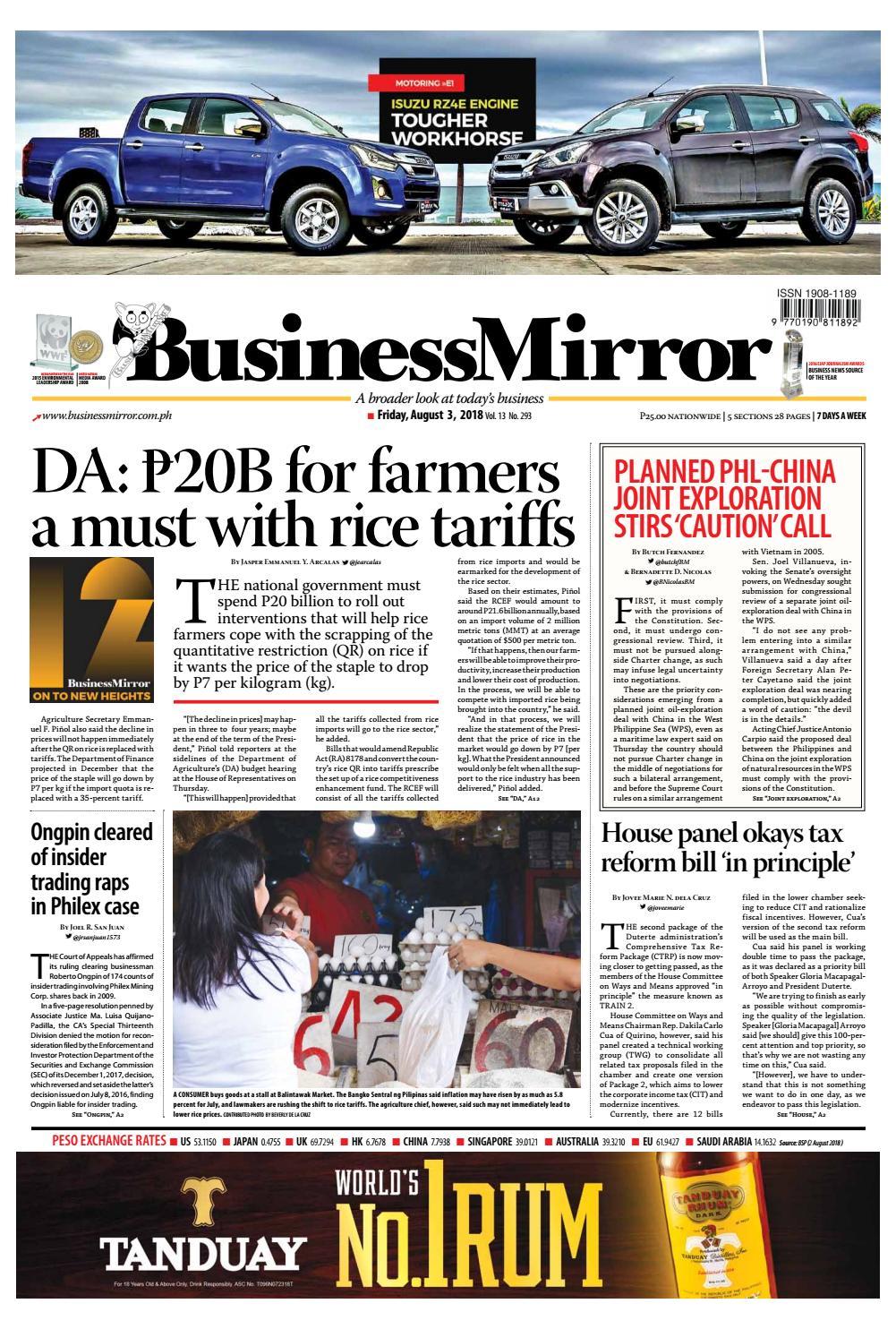 Businessmirror August 03, 2018 by BusinessMirror - issuu
