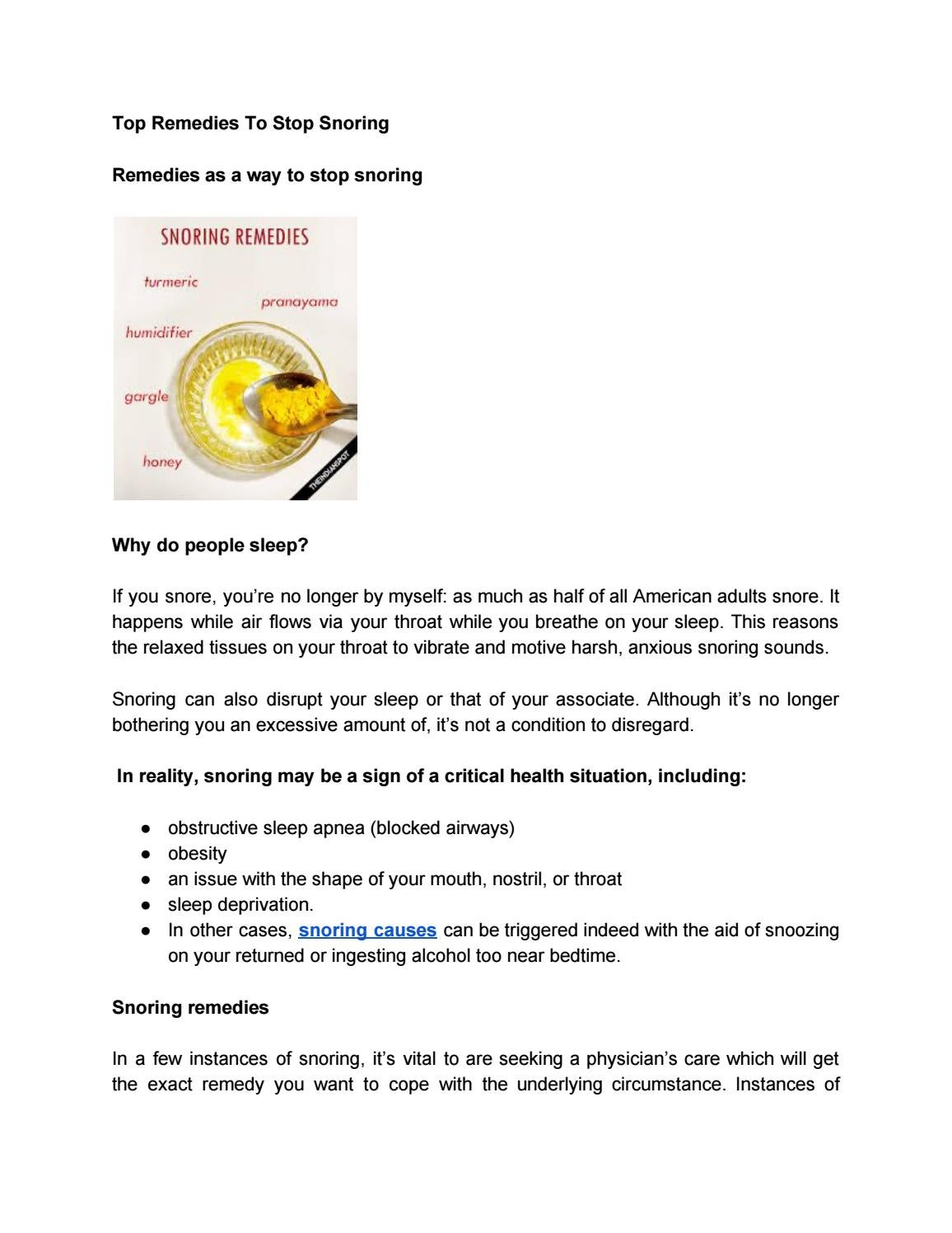 Top Remedies To Stop Snoring by stellalayla970 - issuu