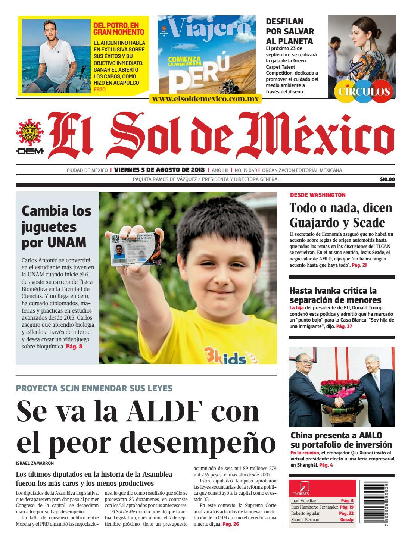 134a2e3b9c El Sol de México 03 de agosto 2018 by El Sol de México - issuu
