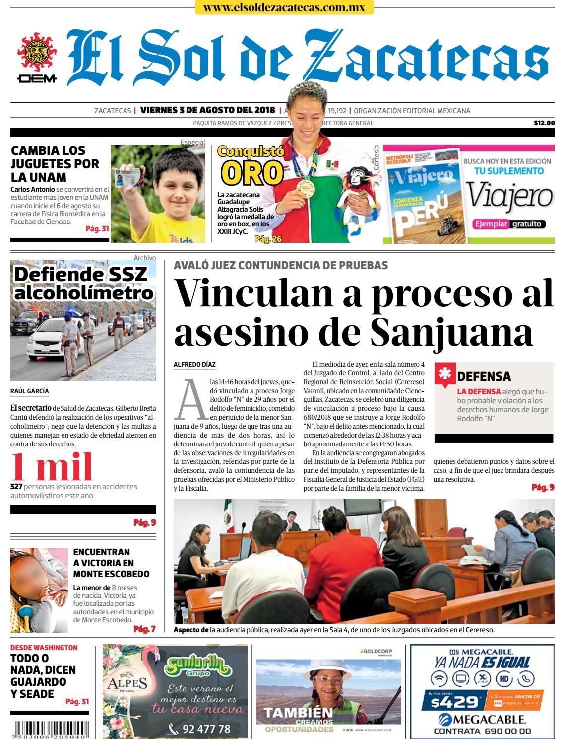 bcaa30fa3 El Sol de Zacatecas 3 de agosto 2018 by El Sol de Zacatecas - issuu