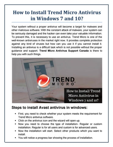 How to Install Trend Micro Antivirus in Windows 7 and 10? by