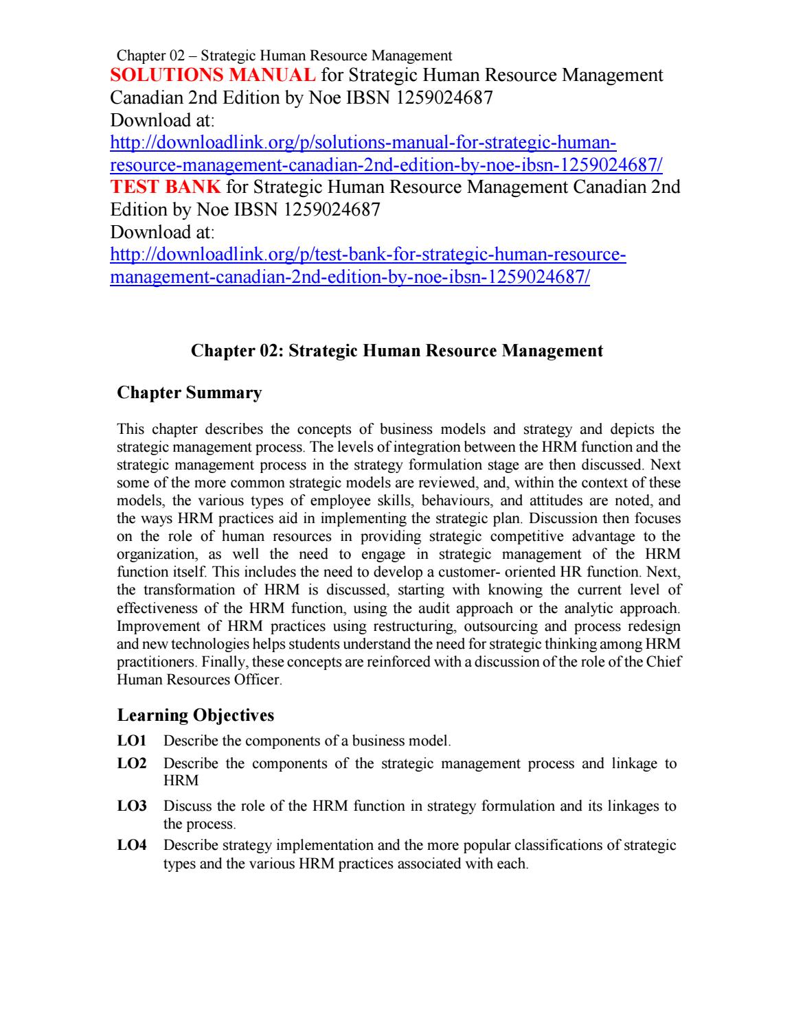 Solutions Manual for Strategic Human Resource Management