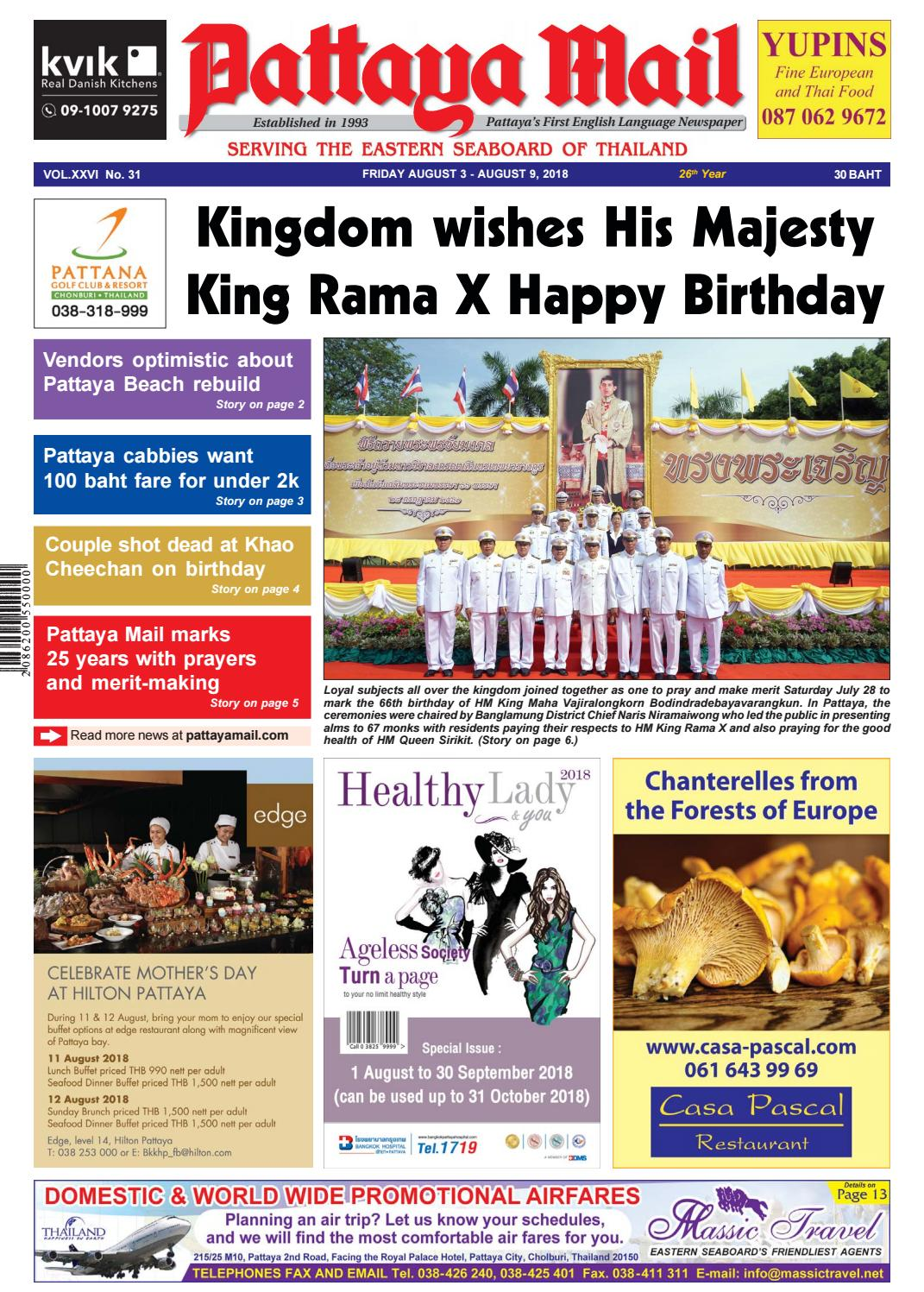 Pattaya Mail - FRIDAY AUGUST 3 - AUGUST 9, 2018 (Vol  XXVI No  31