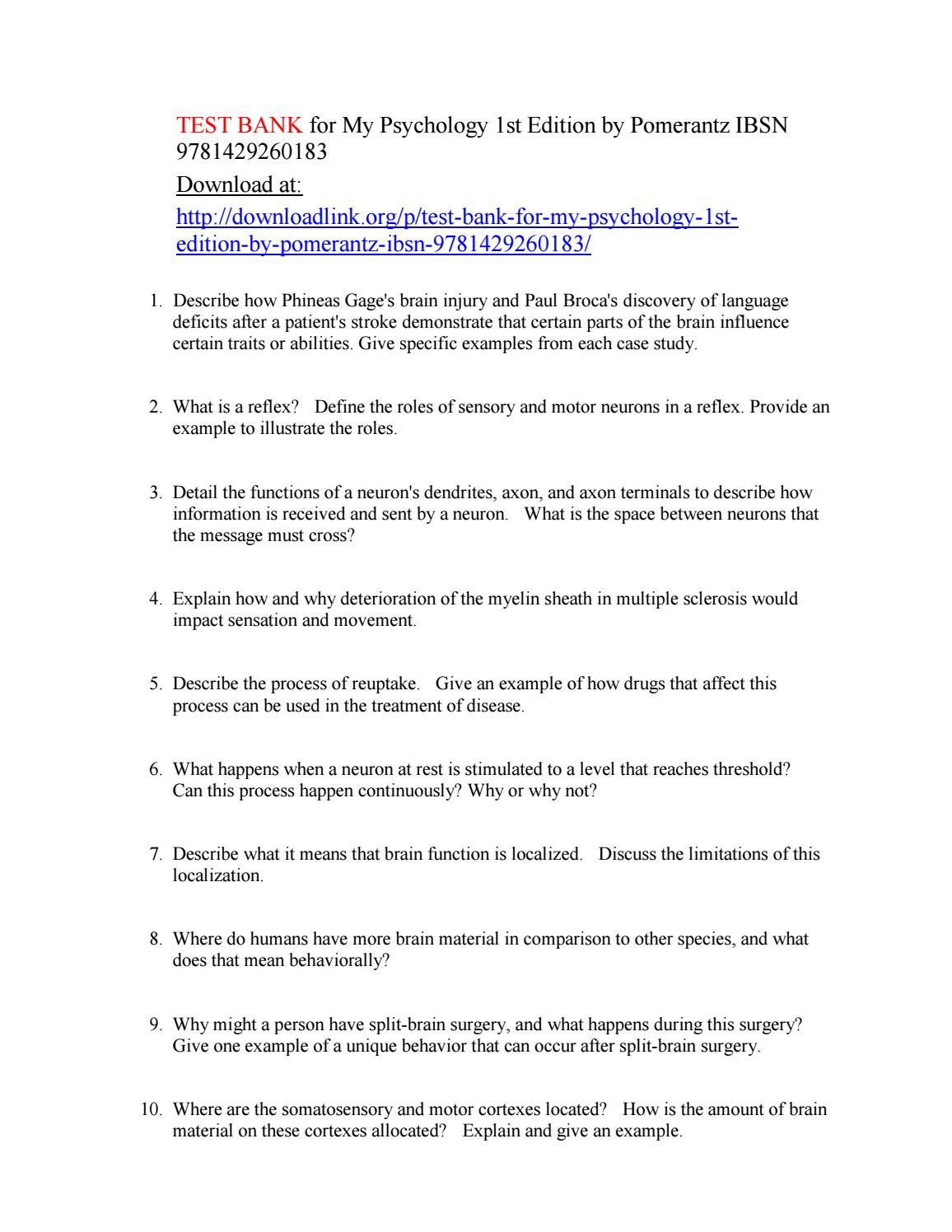 Test Bank for My Psychology 1st Edition by Pomerantz IBSN