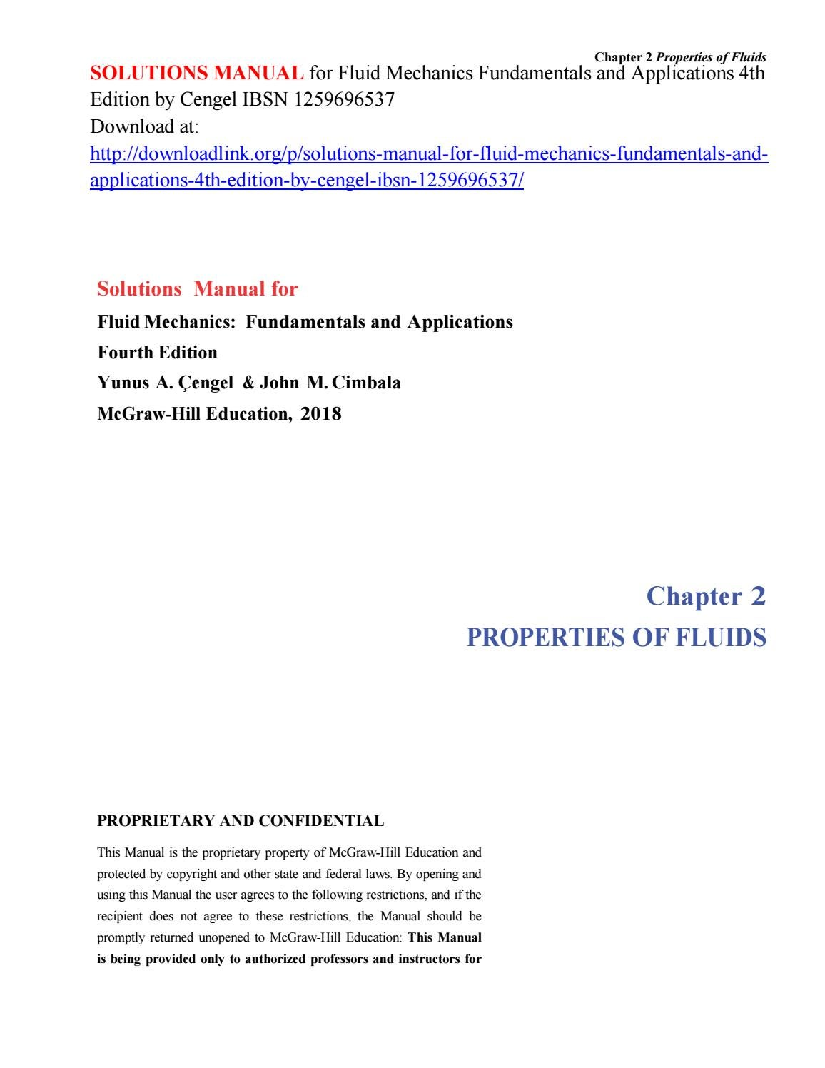 Solutions Manual for Fluid Mechanics Fundamentals and Applications 4th Edition  by Cengel IBSN 125969 by Brennanwass - issuu