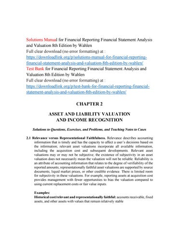 Solutions Manual For Financial Reporting Financial Statement