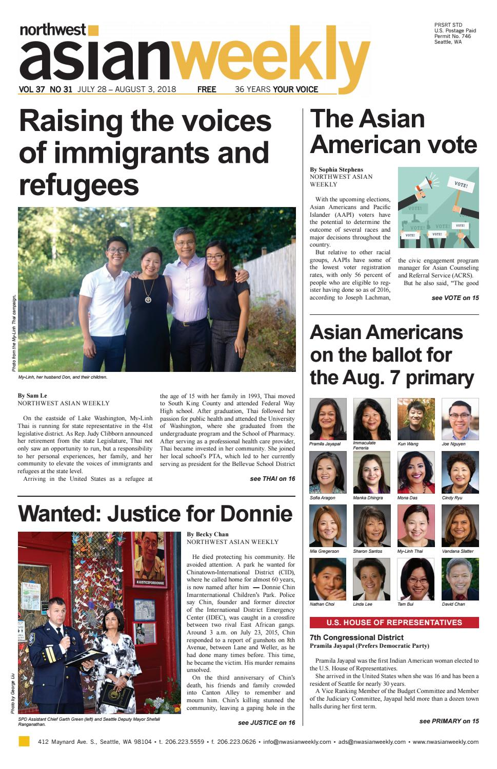 VOL 37 NO 31| JULY 28 – AUGUST 3, 2018 by Northwest Asian