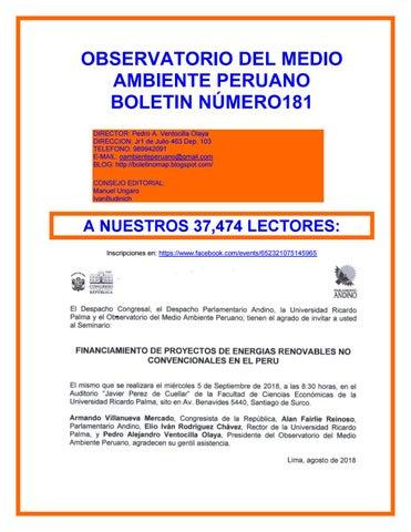 OBSERVATORIO DEL MEDIO AMBIENTE PERUANO BOLETIN NÃ  x161 MERO181 DIRECTOR   Pedro A. Ventocilla Olaya DIRECCION  Jr1 de Julio 463 Dep. b5fc0117bfe