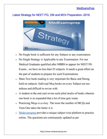 Latest Strategy for NEET PG, DM and MCh Preparation -2018 by