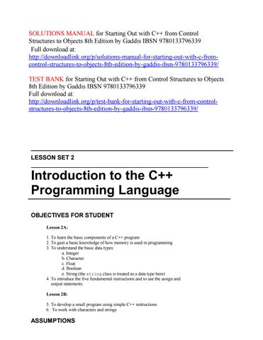 Solutions Manual For Starting Out With C From Control Structures