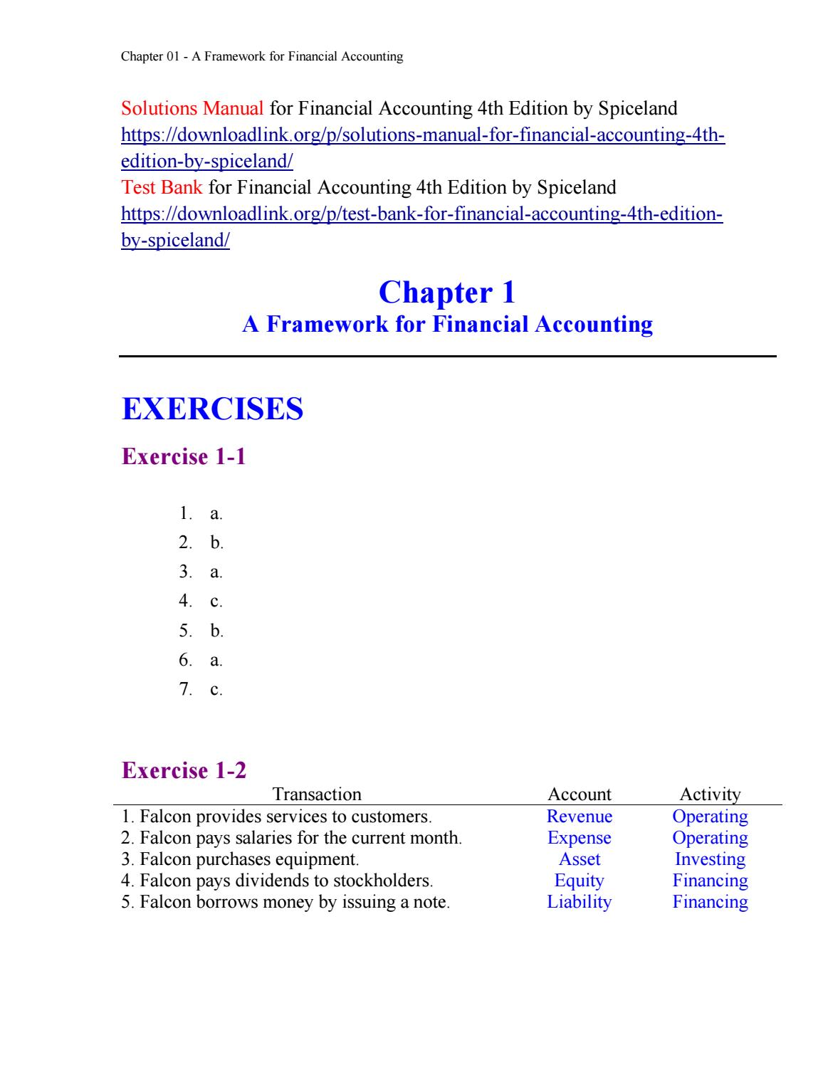 Solutions Manual for Financial Accounting 4th Edition by Spiceland by  drew5454 - issuu