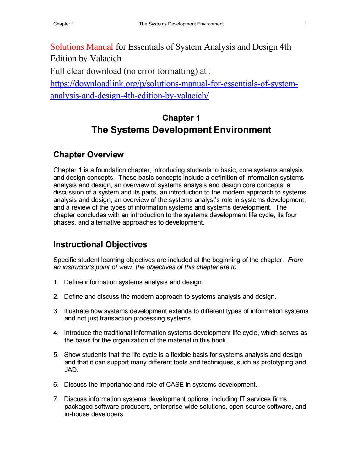 Solutions Manual For Essentials Of System Analysis And Design 4th Edition By Valacich By Crush424 Issuu