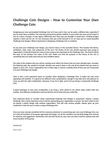 Challenge Coin Designs - How to Customize Your Own Challenge Coin by