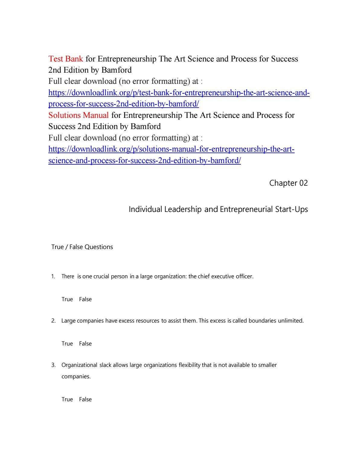 Test Bank for Entrepreneurship The Art Science and Process for Success 2nd  Edition by Bamford by mory46463 - issuu