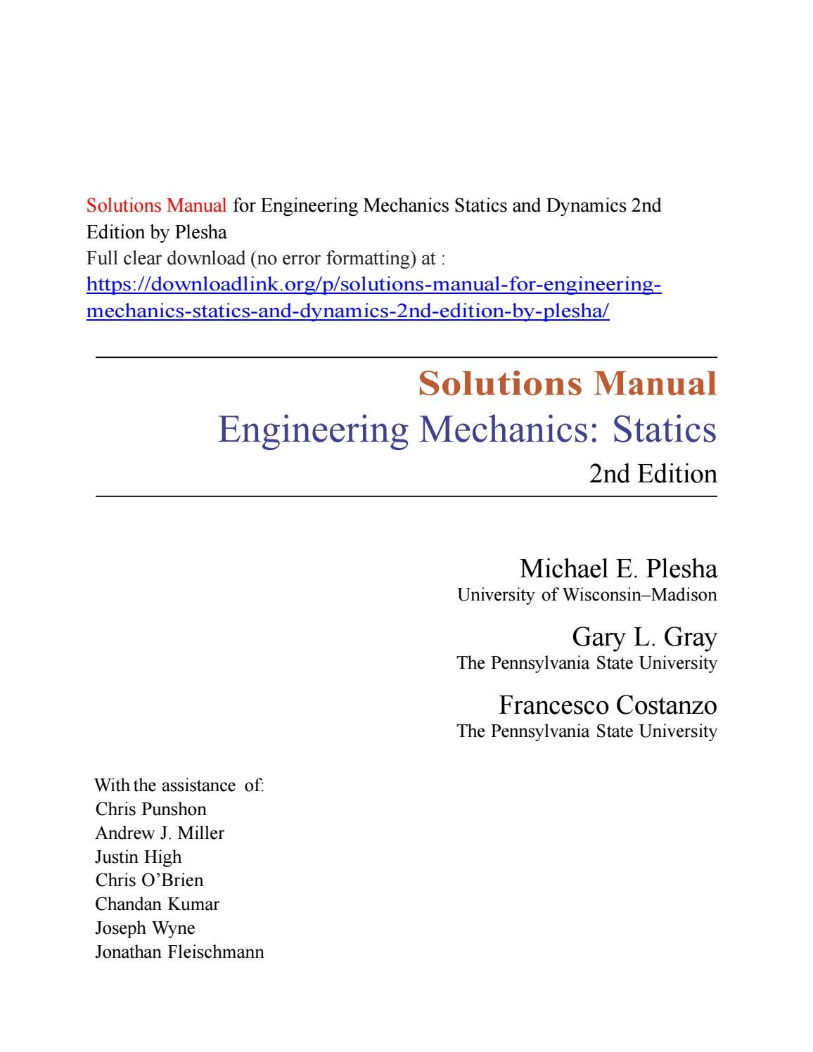 Solutions Manual for Engineering Mechanics Statics and Dynamics 2nd Edition  by Plesha by kiki5324 - issuu