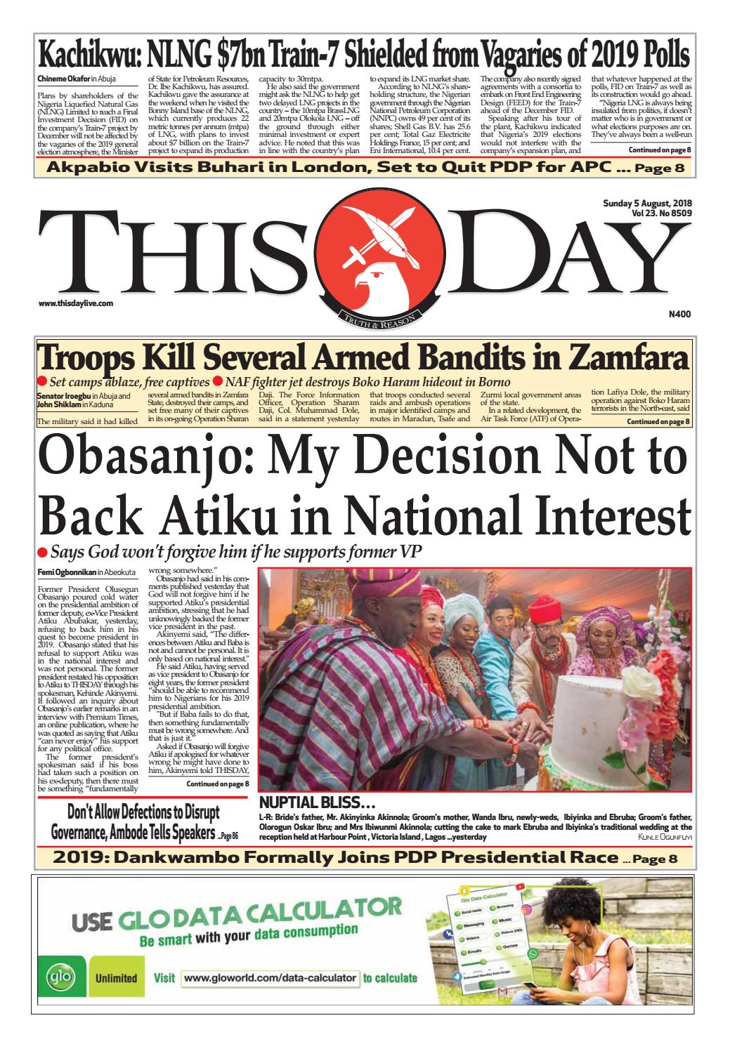 SUNDAY 5TH AUGUST 2018 by THISDAY Newspapers Ltd - issuu
