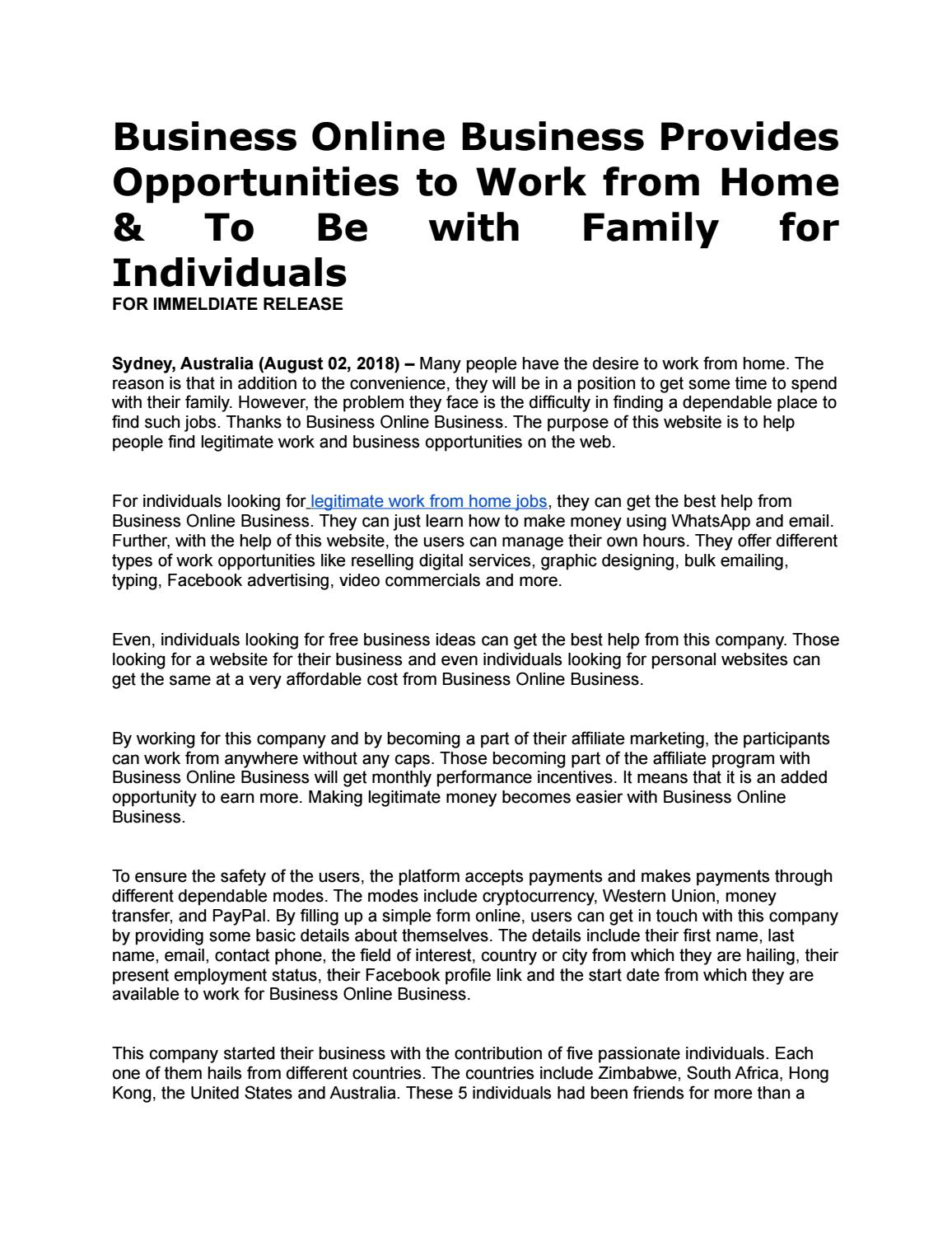 Business Online Business Provides Opportunities to Work from Home ...