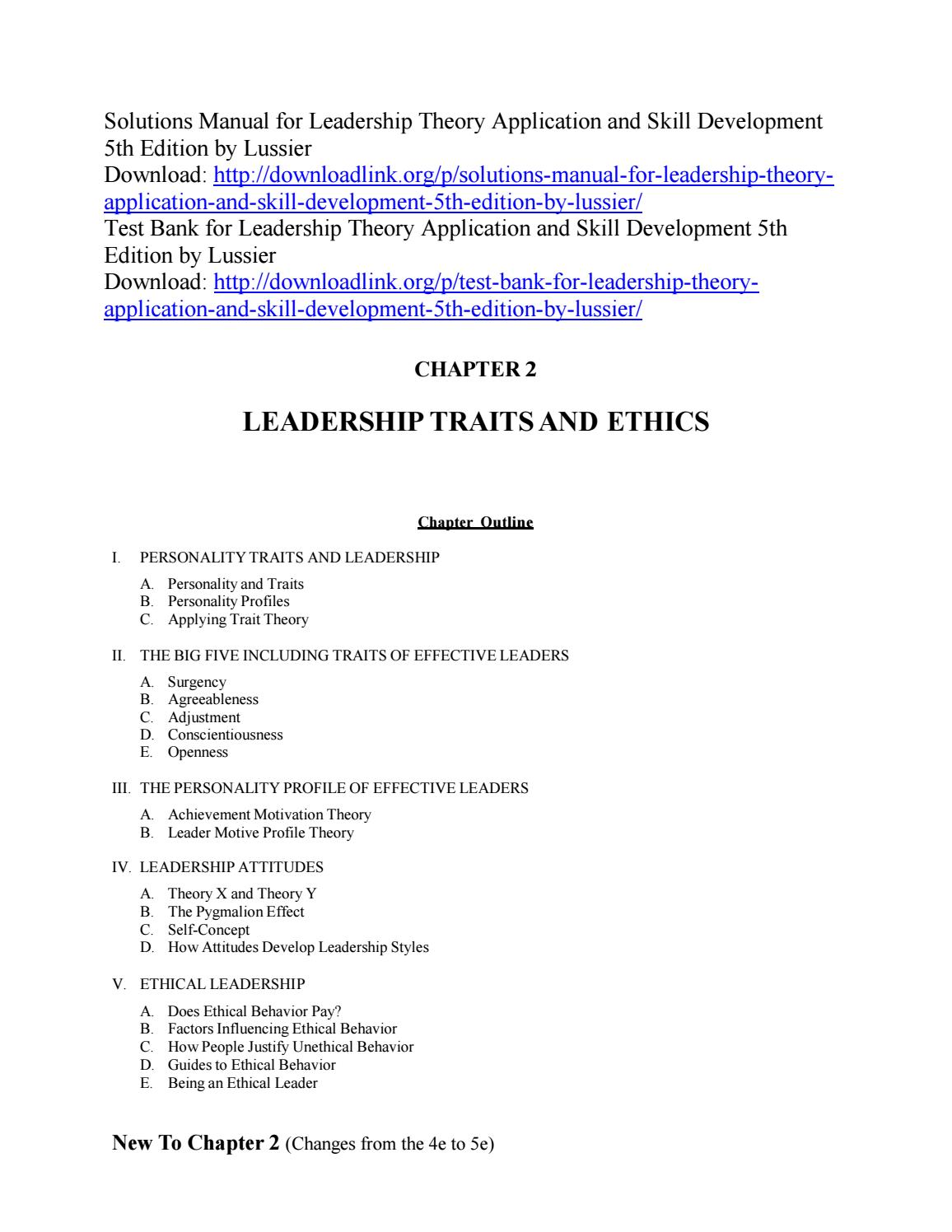 Solutions Manual for Leadership Theory Application and Skill
