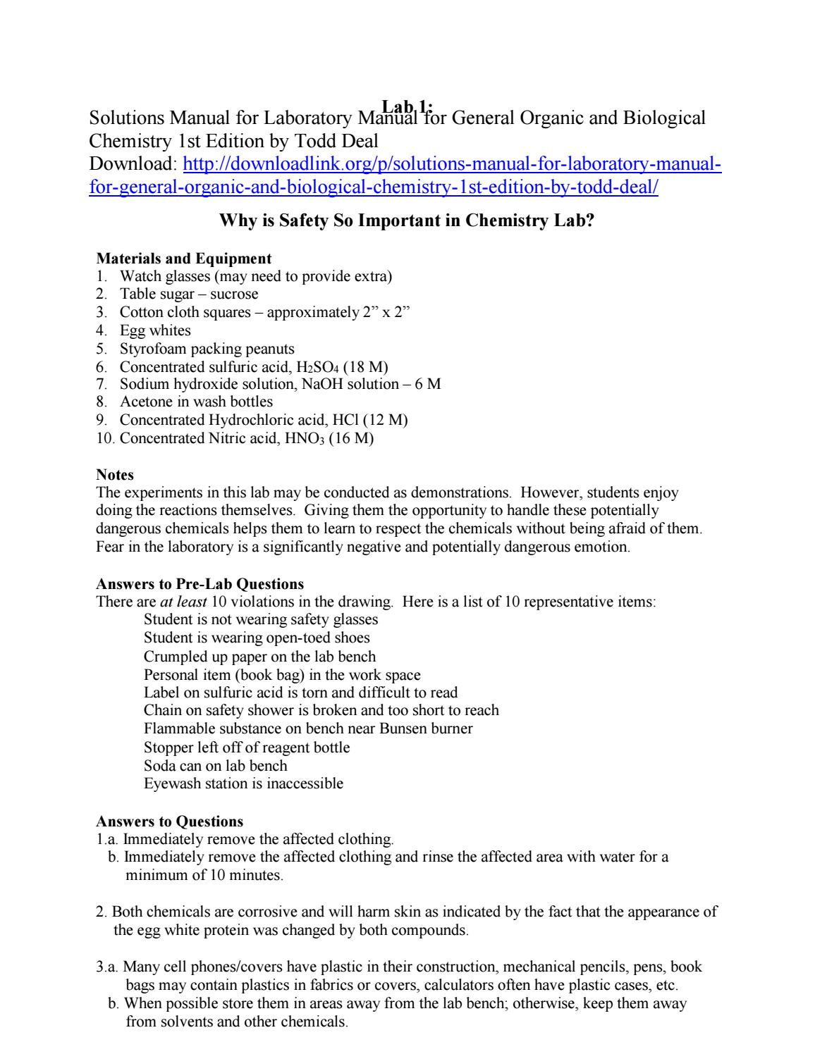 Solutions Manual for Laboratory Manual for General Organic and Biological  Chemistry 1st Edition by T by ys048 - issuu