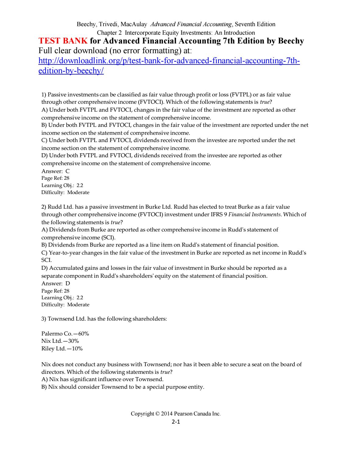 Test Bank for Advanced Financial Accounting 7th Edition by Beechy by  Mike8795448 - issuu