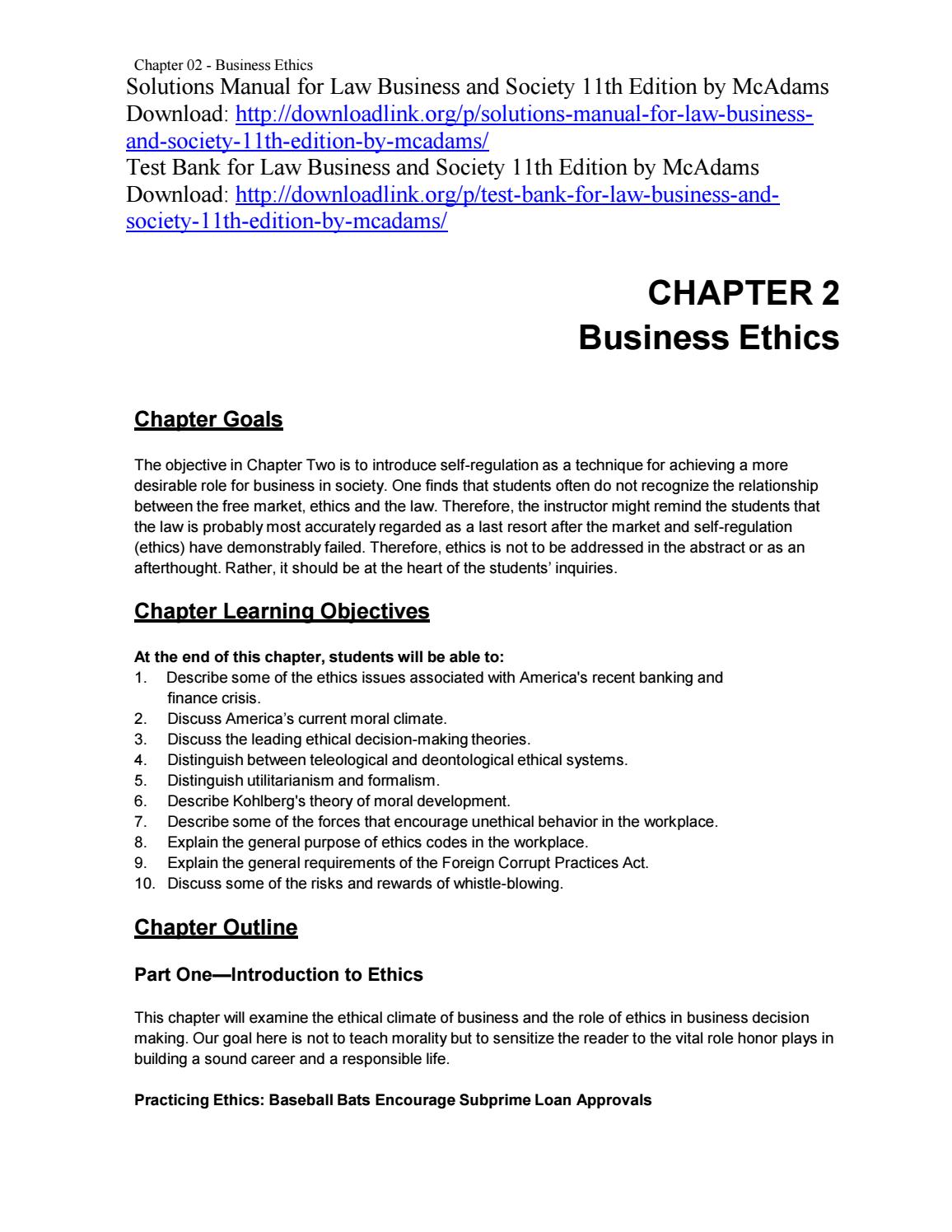 Law business and society 11th edition by mcadams test bank