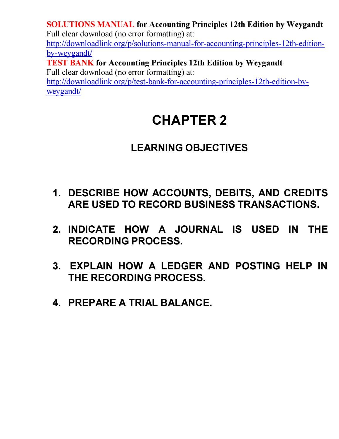 Solutions Manual for Accounting Principles 12th Edition by Weygandt by  Kris94786 - issuu