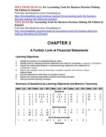 Solutions Manual For Accounting Tools For Business Decision