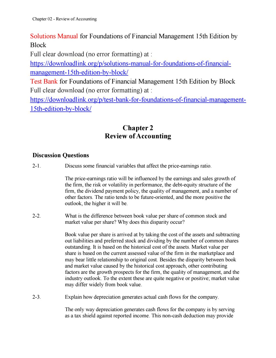 Solutions Manual for Foundations of Financial Management 15th Edition by  Block by jack4356 - issuu