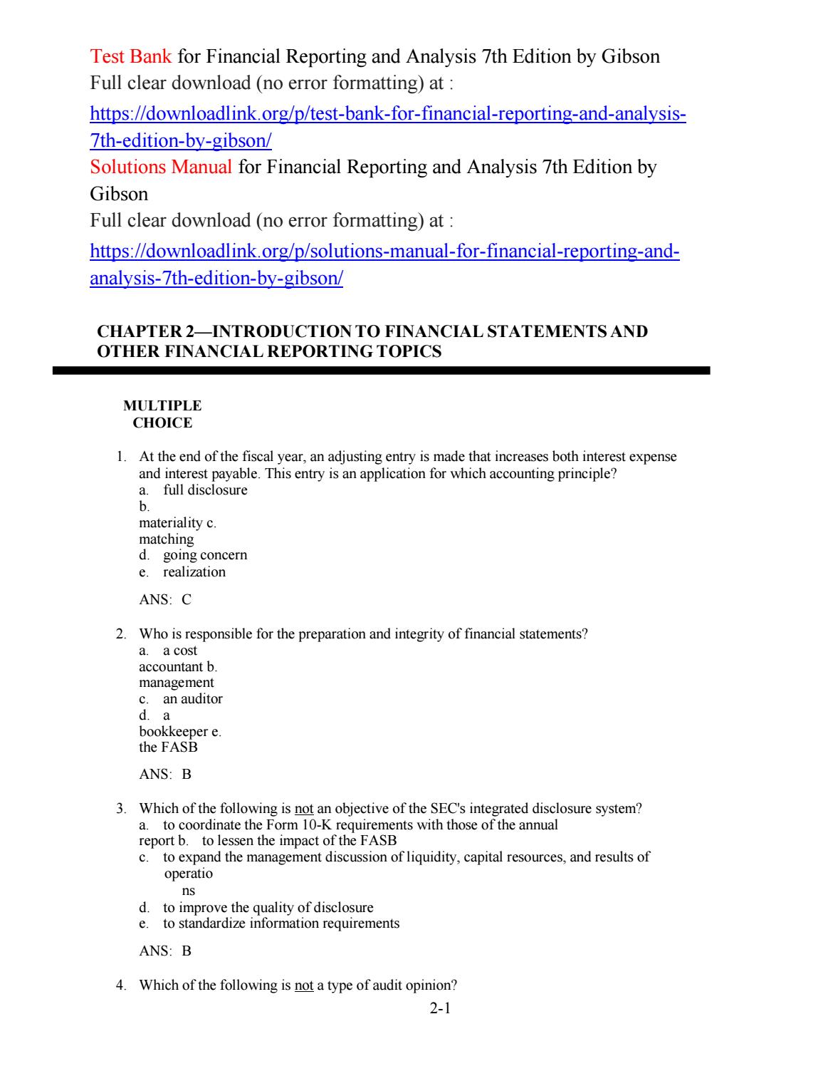 Test Bank for Financial Reporting and Analysis 7th Edition by Gibson by  jack4356 - issuu