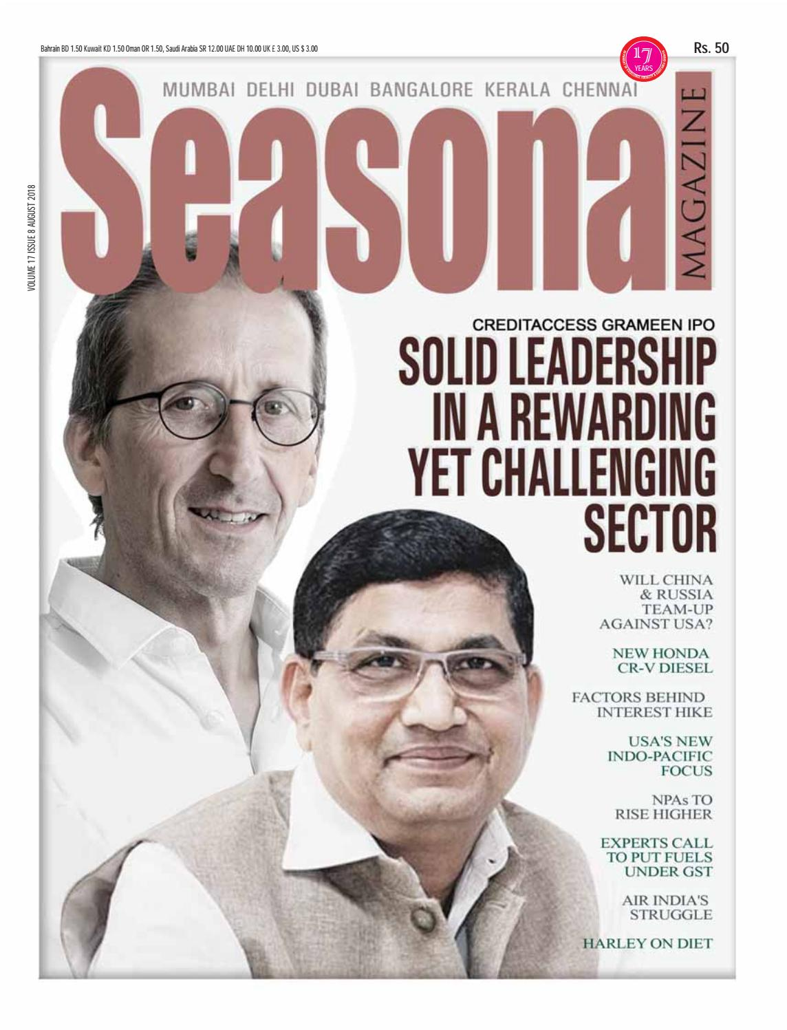 Seasonal Magazine - August 2018 Issue - CreditAccess Grameen IPO Cover Story