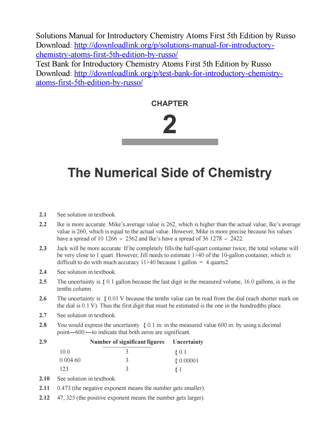 Solutions Manual for Introductory Chemistry Atoms First 5th Edition by  Russo by ys057 - issuu