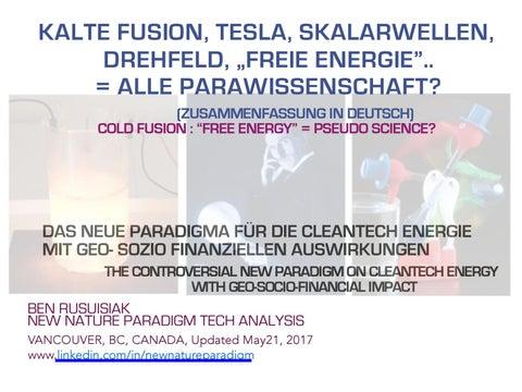 Kalte fusion, Tesla, Skalarwellen, Drehfeld, Freie Energie