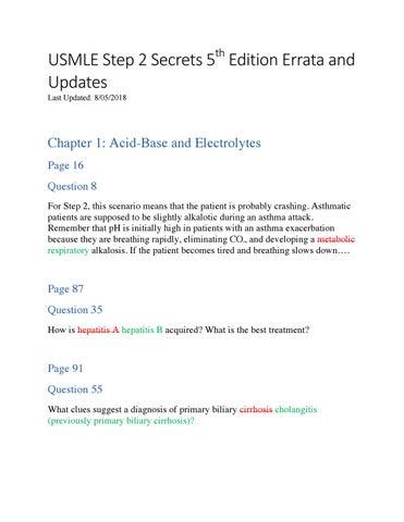 72269b31db62 USMLE Step 2 Secrets 5th Edition Errata and Updates by Jamie Katuna ...