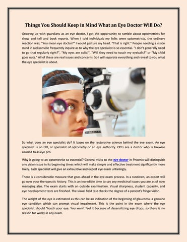 e243923e90d Things to you should know What an Eye Doctor Will Do  by drmjp - issuu