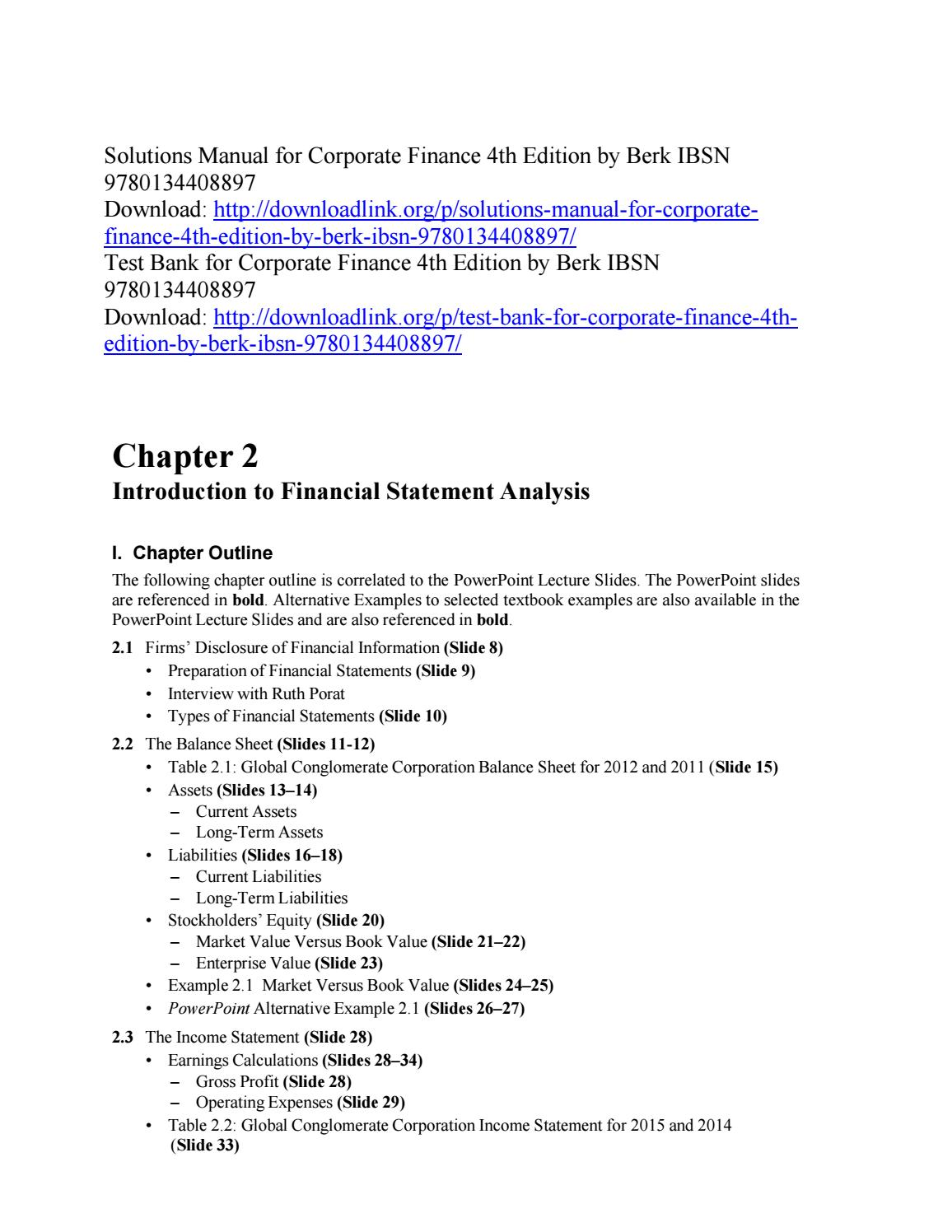 Solutions Manual for Corporate Finance 4th Edition by Berk IBSN  9780134408897 by ys073 - issuu