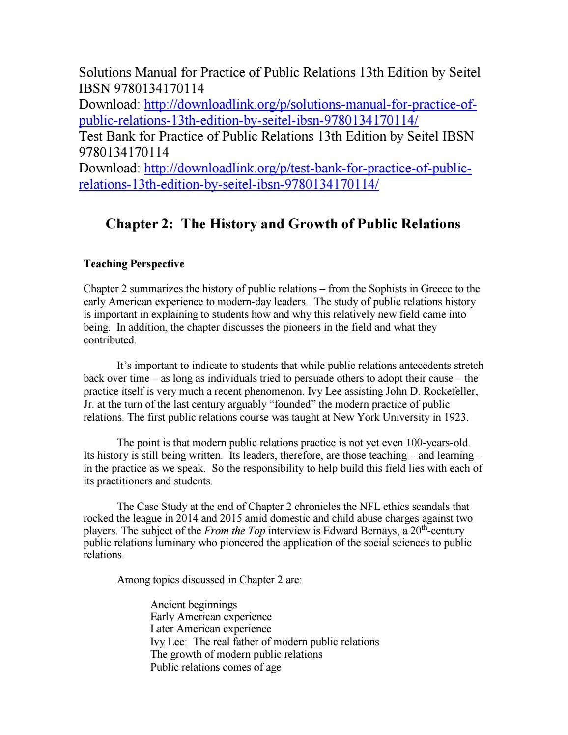 Solutions Manual for Practice of Public Relations 13th Edition by Seitel  IBSN 9780134170114 by ys074 - issuu
