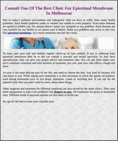 Consult One Of The Best Clinic For Epiretinal Membrane In Melbourne