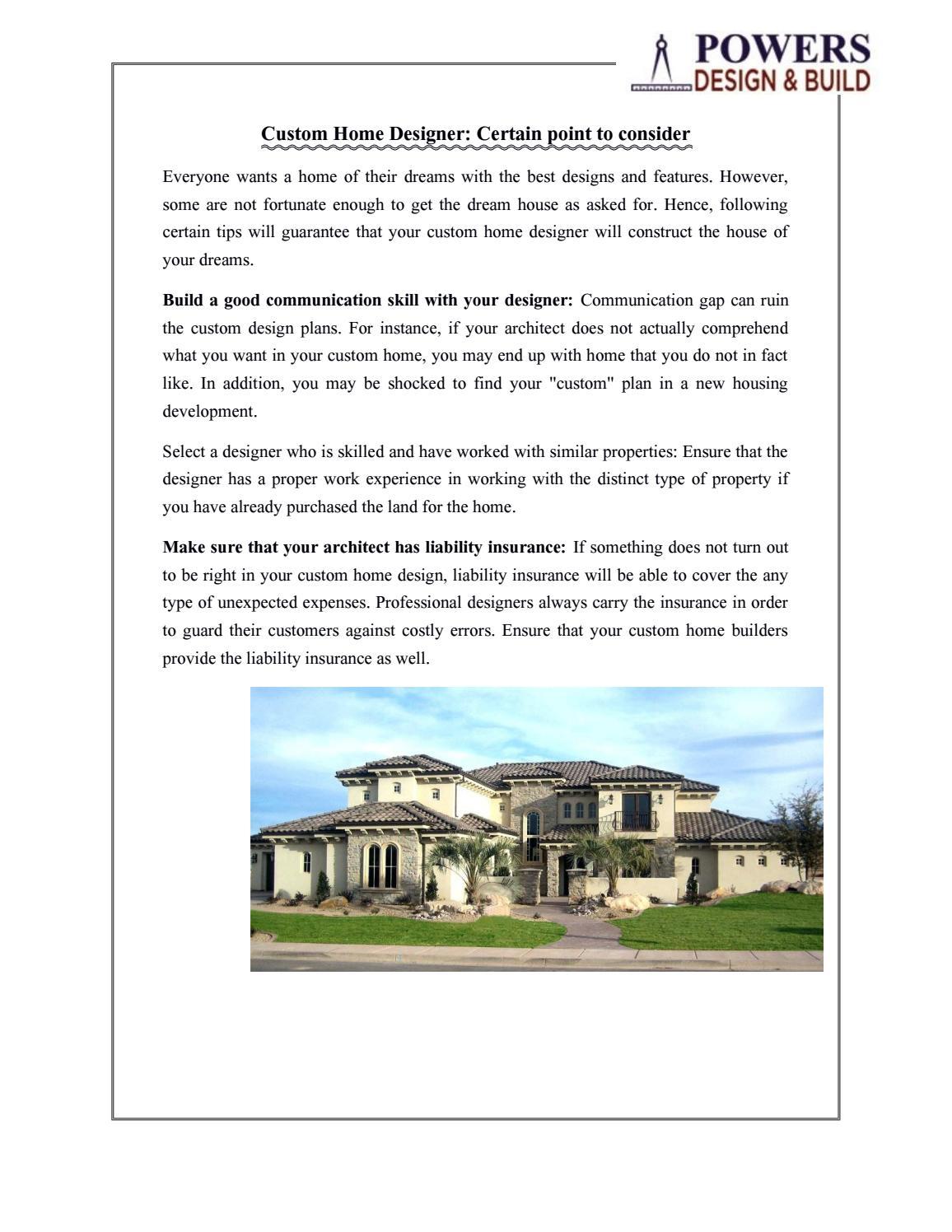 Custom Home Designer: Certain point to consider by Powers Design \u0026 Build LLC - issuu