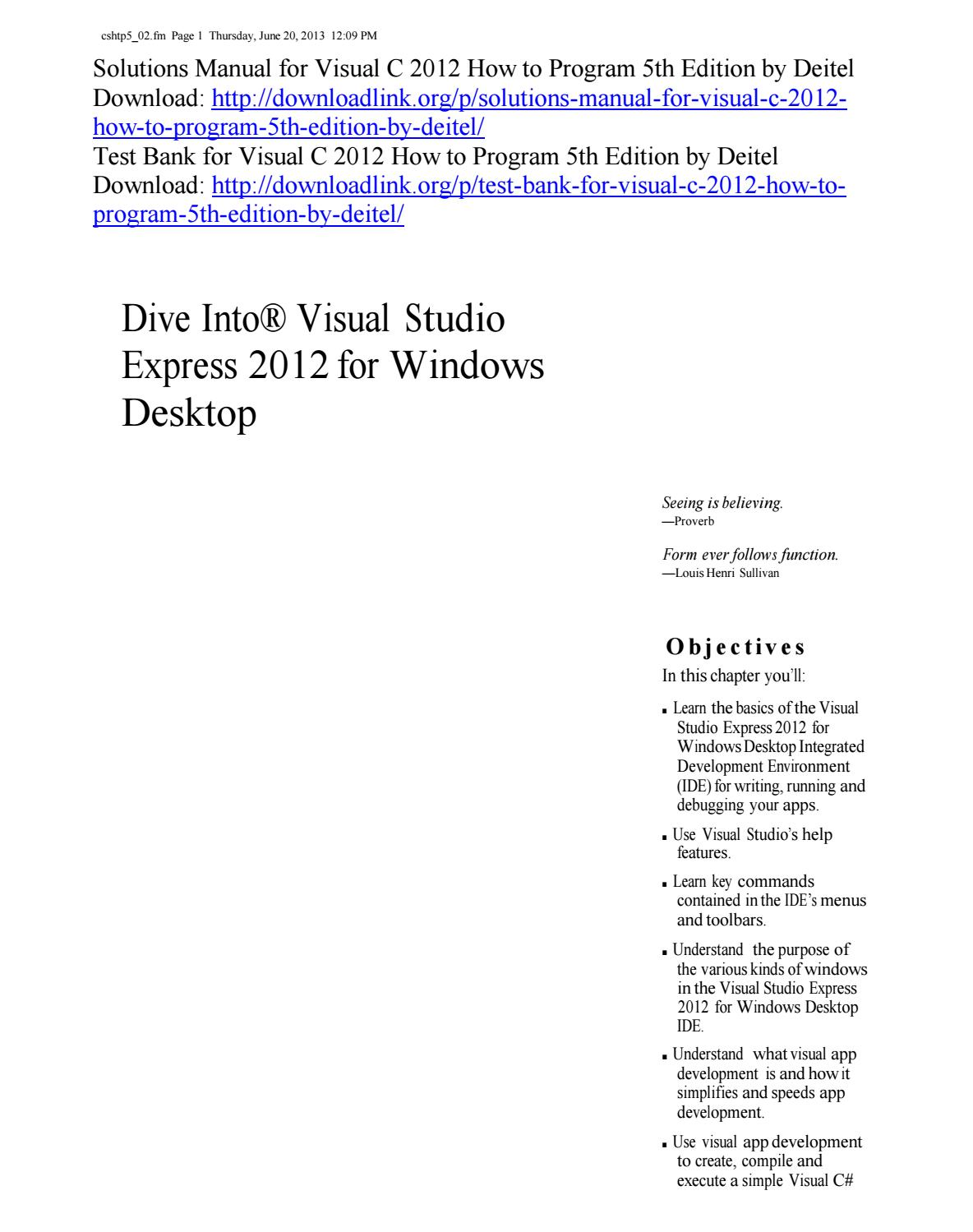 Solutions Manual for Visual C 2012 How to Program 5th Edition by Deitel by  ys076 - issuu