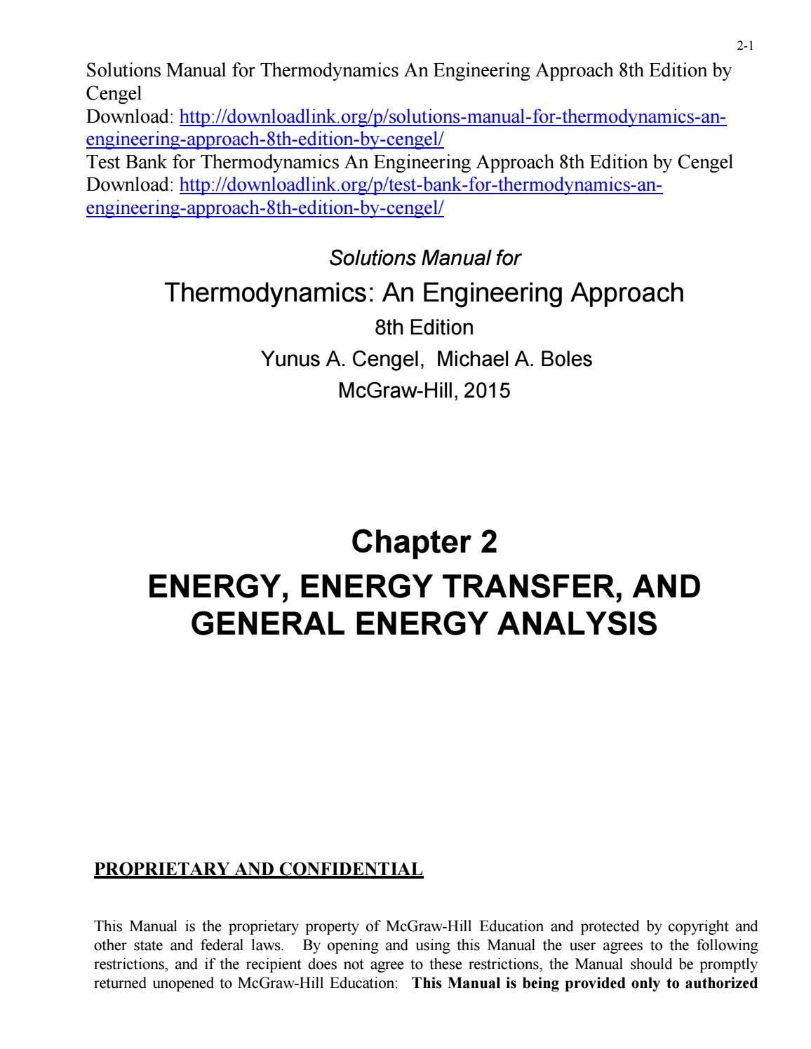 Solutions Manual for Thermodynamics An Engineering Approach 8th Edition by  Cengel by ys077 - issuu