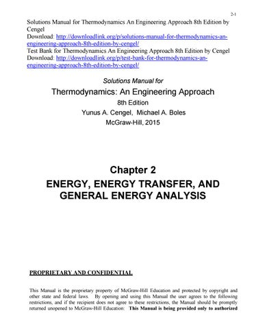 Solutions Manual For Thermodynamics An Engineering Approach