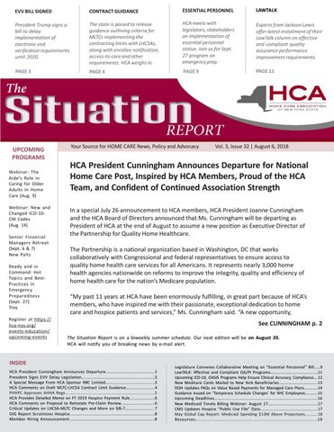 August 6, 2018 Edition of The Situation Report by Home Care