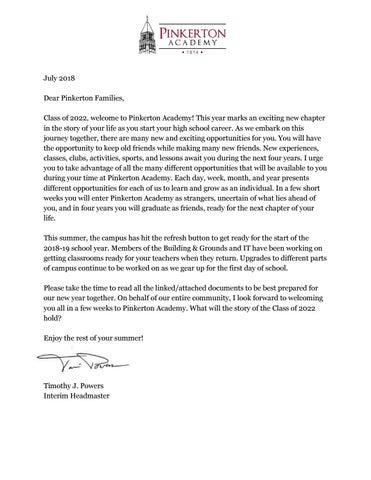 Pinkerton Academy Campus Map.Pinkerton Academy Summer Packet For Incoming Freshmen By Pinkerton