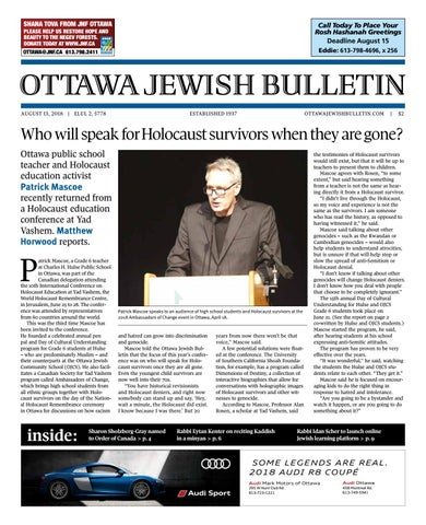 Ottawa Jewish Bulletin - August 13, 2018 by The Ottawa