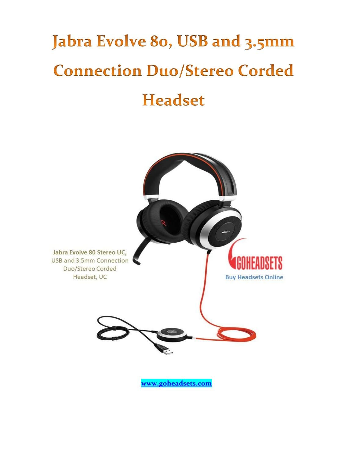 Jabra Evolve 80 Usb And 3 5mm Connection Duo Stereo Corded Headset By Go Headsets Issuu