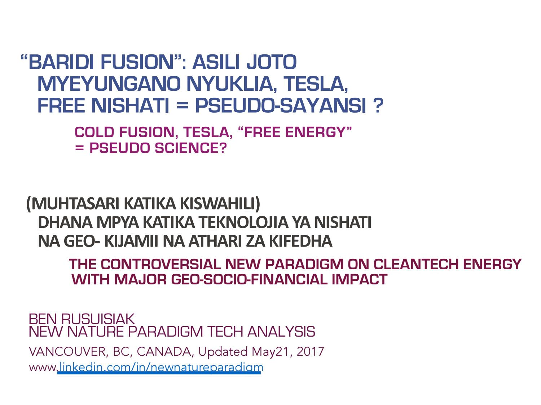"Baridi Fusion"": Asili Joto, Myeyungano Nyuklia, Tesla, Free Nishati"
