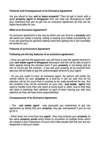 Features And Consequences Of An Exclusive Agreement By Kaleb Tillman