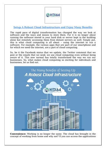 Setup A Robust Cloud Infrastructure and Enjoy Many Benefits
