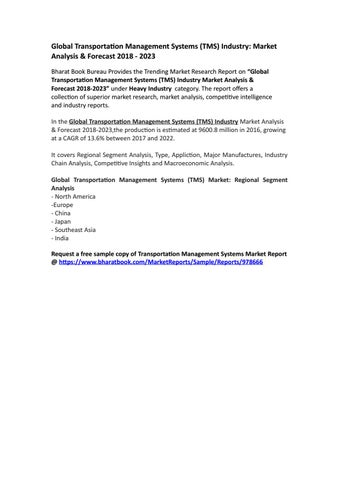 Global Transportation Management Systems (TMS) Industry: Market